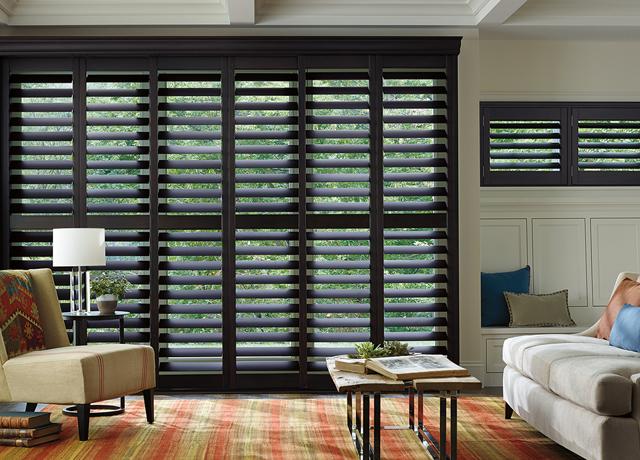 Plantation shutters indoor shutters mountainside nj for Black window shutters interior